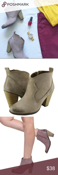 """Beautiful taupe faux leather booties  These are so cute and trendy this fall! Great taupe colored booties with a zip up side and approximately 3"""" heel. Perfect with leggings or cropped pants! They are faux leather with a cute """"slightly distressed"""" look, and fit true to size. Get them while they last! Price firm unless bundled to be fair to all buyers. 5 ratings! Shoes Ankle Boots & Booties"""