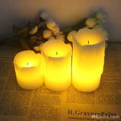 Wedding Party Candle Happy Tear Ivory LED Candle Paraffin
