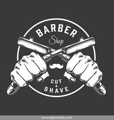 Vintage Monochrome Barbershop Vector Design with crossed blades. Barber Shop Interior, Barber Shop Decor, Salon Interior Design, Beauty Salon Interior, Jiraiya Y Naruto, Best Barber Shop, Barber Logo, Custom Business Signs, Barber Razor