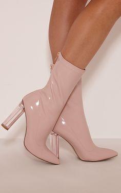 Ella Pink Perspex Heel Boots Image 2