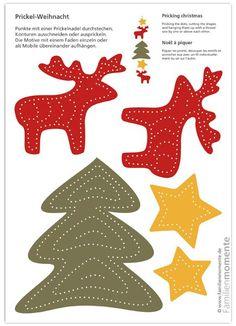 Prickel-Weihnacht - Bastelbogen zum Prickeln für ein Weihnachts-Mobile mit Elchen, Sternen und Tannenbaum