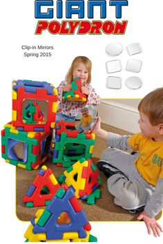 #Giant #Polydron clip in mirrors.  Increase the play value of your #Giant #Polydron by adding these innovative mirrors. Children will love making patterns in the mirrors with the giant shapes. There are 5 different types of mirror to explore, including flat and different types of #convex and #concave mirrors. Great for #earlyyears!