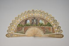Title: Fan Place of creation: France Date: Material: horn, gouache, sequins, paper Technique: gilded and carved Inventory Number: Gothic Castle, Antique Fans, Spanish Fashion, I Cool, Russian Art, Hand Fan, Horns, It Works, Carving