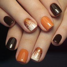 Sns Nails Colors, Cute Gel Nails, Toe Nail Color, Short Gel Nails, Fall Nail Colors, Purple Nails, Orange Nails, Purple Hues, 3d Nails