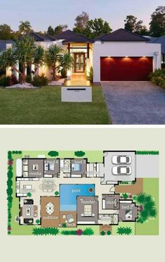 House plans - House is designed around the pool and giant outdoor entertaining area designer prizehome New House Plans, Dream House Plans, Modern House Plans, Modern House Design, House Floor Plans, House Plans With Pool, Courtyard House Plans, House Entrance, Entrance Ideas
