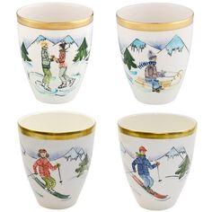 Set Of Four Sofina Porzellan Vases - Skier Decor Sofina Boutique Kitzbuehel German Country Porcelain Porcelain Jewelry, Fine Porcelain, Porcelain Ceramics, Painted Porcelain, Hand Painted, Ski Chalet Decor, Ski Decor, Tradition Of China, Yorkshire