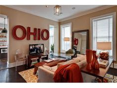 Those letters would be neat in an Ohio State inspired game room, without having all the usual buckeye fare. Brick Italianate for sale Germantown OH 3 Cave Bar, Man Cave Home Bar, Man Cave Garage, Garage Bar, Design Garage, House Design, Design Design, Germantown Ohio, Ohio State Rooms