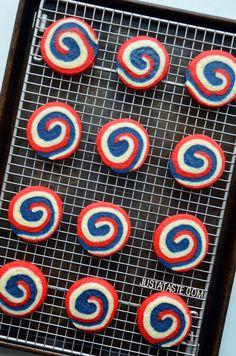 Red, White and Blue Pinwheel Icebox Cookies   http://www.justataste.com/2013/06/july-4-dessert-pinwheel-icebox-cookies/