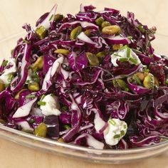 Jacques Pepin's Red Cabbage, Pistachio, and Cranberry Salad with Blue Cheese