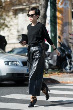 Wide leg leather trousers are relaxed but edgy look for during the week or weekend. Paris.