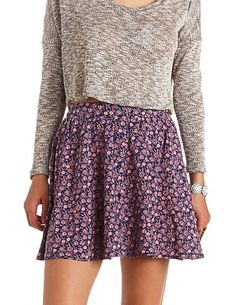 Button-Up Floral Print Skater Skirt: Charlotte Russe