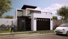 Modelos de fachada de casas de dos pisos con balcon