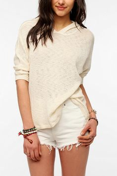 Sparkle & Fade Open-Stitch Hooded Sweater Knit Top