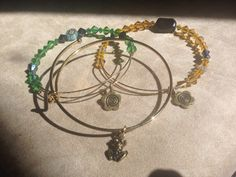 Three Pack Stack of Springtime Expandable Bangle Charm Bracelets on Etsy, $25.00