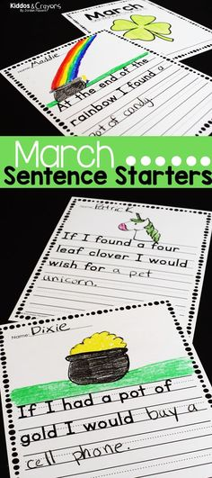 Distance Learning March Sentence Starters Writing Prompts