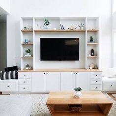 The perfect living room media center with built in shelves and cabinets - All About Balcony Built In Shelves Living Room, Living Room Wall Units, Living Room Cabinets, Living Room Storage, Home Living Room, Living Room Designs, Living Room Ideas With Tv, Built In Tv Wall Unit, Tv Wall Shelves
