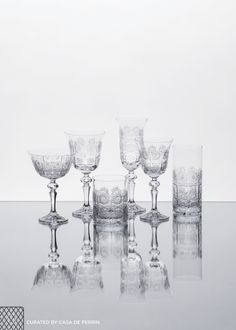 Czech Crystal Stemware & Barware, made from the finest crystal in the world and cut in the most delicate and brilliant of ways from a design dating back nearly one-hundred years.  Water Goblet (8oz) Wine Goblet (5oz) Champagne Coupe (5oz) Champagne Flute (7oz) Highball (13oz) Lowball (11oz)