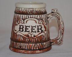 Vintage Handmade Ceramic Beer Mug Glass Wooden Barrel Design Country Western #Unknown