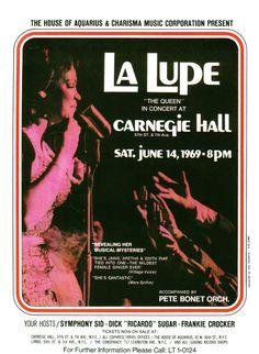Poster publicitario de La Lupe diseñado por Izzy Sanabria.