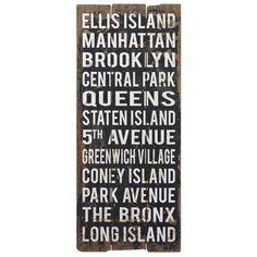 "Uttermost 48"" High City Names II Retro New York Wall Art"