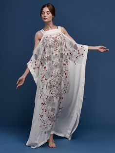 MENG Butterfly Lovers Printed open shoulder silk kaftan white red cherry blossom, $869, Front View