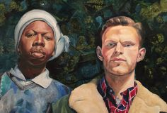 """""""Love thou neighbor"""" 1998 Oil and mixed media on canvass by Karel Willems"""