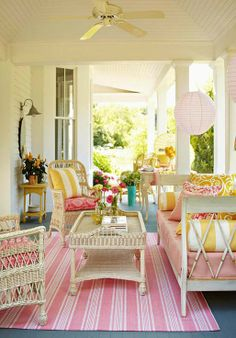 Creating a beautiful porch can make any home seem like a vacation home. Porch not only provide a practical function. A porch area can be used for sunbathing Outdoor Living Space, Outdoor Rooms, Decor, Porch Decorating, Home, Living Spaces, Outdoor Spaces, Home Decor, Porch Design