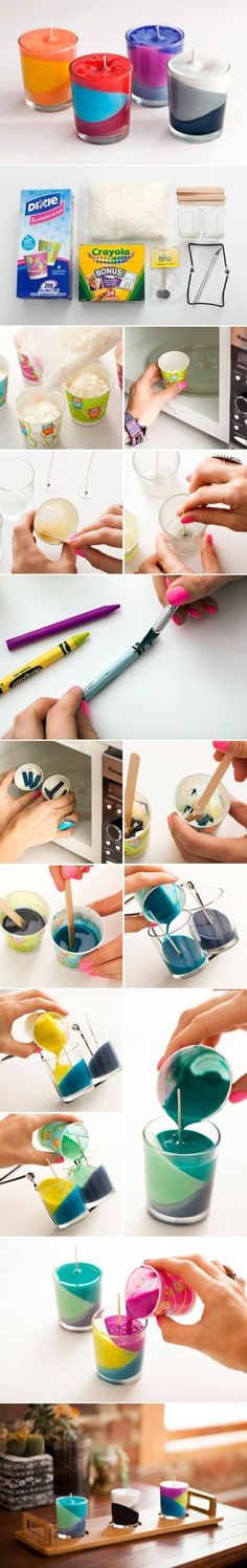 DIY Multi Color Candle candle diy craft; christmas presents - looks pretty easy. Use up those broken crayon pieces!