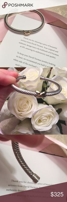 """David Yurman crossover bangle size medium DY hallmark 585 925 in SS and 18k crossover bangle .  Fits wrist size 4.75""""-6"""".  Professionally polished and signature pouch included.  Adorable and can be dressed up or great with jeans too David Yurman Jewelry Bracelets"""