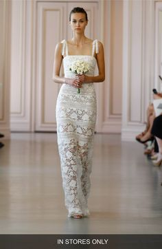 Oscar de la Renta 'Ellie' Macramé & Lace Shoulder Tie Column Gown (In Stores Only)