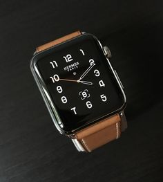 e1a3d6e0178 Apple Watch Hermès Single Tour 42mm Stainless Steel Case Fauve Barenia  Leather Band.