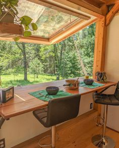 Timber Frame Tiny House on Wheels, Large Gas-Strut Assisted Window Opens up this beautiful tiny house and provides a perfect eating area Tiny House Loft, Best Tiny House, Modern Tiny House, Tiny House Living, Tiny House Plans, Tiny House Design, Tiny House On Wheels, Living Room, Tiny House Trailer