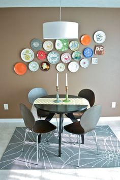 plate wall and chandelier