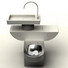 le designer Jang Woo-seoka a imaginé un nouveau concept de toilette écologique pour économiser l'eau : Eco Toilet Concept !   Ce cabinet de toilette propose en fait une vasque intégrée permettant de récupérer l'eau de lavage des mains pour la chasse d'eau.