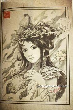 古风少女樱花纹身手稿