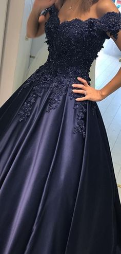 New Ball Gown Off Shoulder Appliqued Navy Blue Prom Dresses With Beadi – VeryProm Navy Blue Quinceanera Dresses, Navy Formal Dresses, Purple Grad Dresses, Black Ball Dresses, Ball Gown Prom Dresses, Blue Lace Prom Dress, Pretty Prom Dresses, School Formal Dresses, Beaded Prom Dress