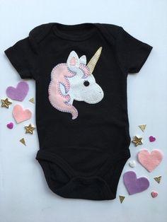 Unicorn baby onesie/bodysuit hand sewn applique by SewLovedYou