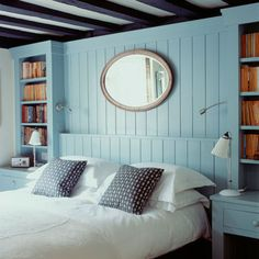 Bedroom: Blue: Wood Panelling: Decorating Ideas: Interiors