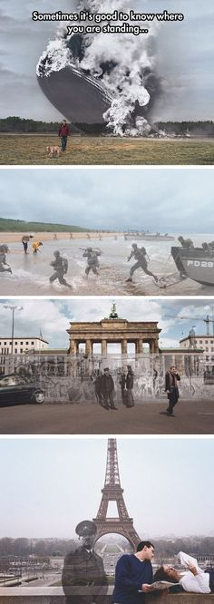 "History Channel ""Know Where You Stand"" campaign by Seth Taras - Hindenburg at Lakehurst, New Jersey 1937 / 2004; D-Day at Normandy Beach 1944 / 2004; Berlin Wall at the Brandenburg Gate 1989 / 2004; Hitler at the Eiffel Tower, Paris 1940 / 2004"