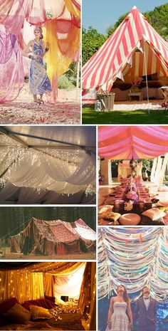 Tents, Canopies & Chuppahs for the hippie - chic wedding reception! Gypsy Party, Hippie Party, Bohemian Party, Bohemian Weddings, Bohemian Summer, Canopy Outdoor, Canopy Tent, Window Canopy, Ikea Canopy