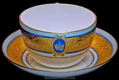 Russian porcelain tea cup and saucer from the Livadia Palace of Tsar Alexander III