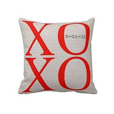 XOXO personalized pillow cover by Jolie Marche