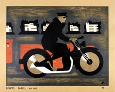 Royal Mail A.D. 1935 Motorcycle GPO - original vintage Post Office poster by John Rutherford Armstrong listed on AntikBar.co.uk