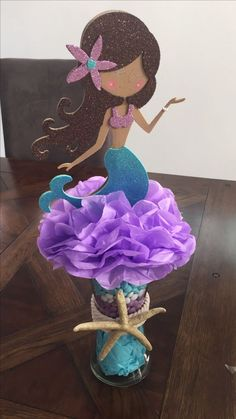 Add these to cake and dessert table and front hall. Insert in mermaid mason jars with flowers Mermaid Party Favors, Mermaid Theme Birthday, Little Mermaid Birthday, Little Mermaid Parties, Mermaid Pinata, Mermaid Baby Showers, Baby Mermaid, Mermaid Room, Party Centerpieces