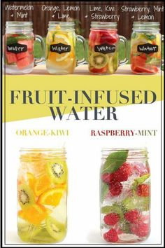 Best Infused Water Recipes - How to make infused water for weight loss, for skin, for energy or a flat belly - these healthy detox infused water recipes have so many health benefits - especially the vegetable and fruit infused water recipes Healthy Detox, Healthy Eating Tips, Healthy Drinks, Easy Detox, Healthy Water, Infused Water Recipes, Fruit Infused Water, Fruit Water Recipes, Water Infusion Recipes
