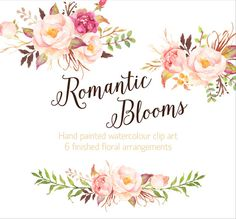 Romantic Blooms Watercolour Clip van GraphicSafari op Etsy