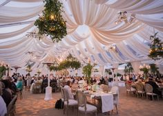 This gorgeous wedding reception took place last summer and we think it is one of the most beautiful fabric draping and tent designs we have ever worked with. Revelry Event Designers worked side by side with Town and Country Event Rentals to create this remarkable tent with fabric draping. The chandeliers were dressed in tons of greenery and the florals on each table were stunning! Beautiful Tent Design for your Wedding Reception » Ooh LaLa La Fete