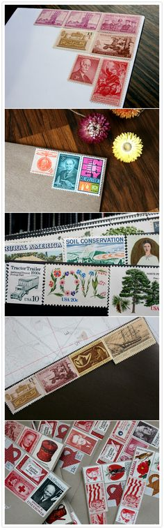 We (like most of you out there) are absolutely crazy for the graphic loveliness that vintage stamps add to any piece of mail. They just don't make stamps like they used to Invitation Envelopes, Invites, Decorated Envelopes, Going Postal, Vintage Lettering, Vintage Stamps, Vintage Wedding Invitations, Custom Stamps, Stamp Collecting