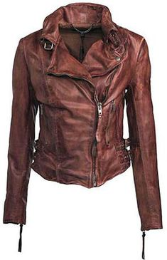 Muubaa  --  Leather Flax Biker Jacket in Burnet
