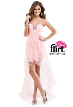 Hot, cold. Yes, no. In, out. Up, down. High, low. Opposite lengths attract in this ultra-hot prom dress with a jeweled keyhole neckline. | by Flirt #pink #promdress